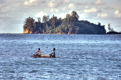 fishermen on small double outrigger canoe, bangka, borneo, boy, double outrigger canoe, fisherman, fishermen, fishing canoe, fishing net, island, kelambu beach, malaysia, man, paddles, paddling, river boat, rowing boat, sailing, seashore, small boat