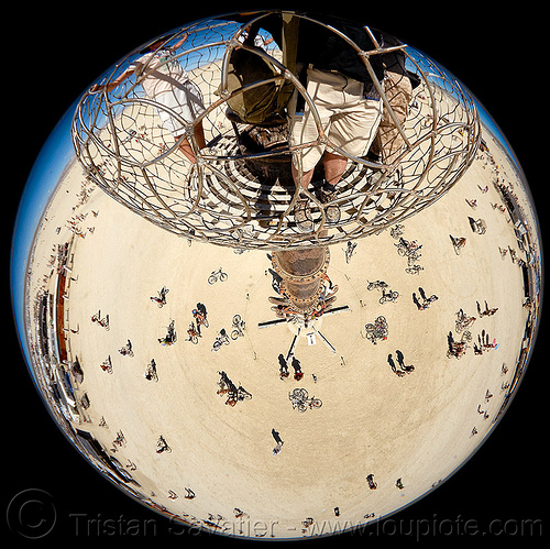 fisheye view from the top of the tower - burning man 2010, art installation, bicycles, bikes, bryan tedrick, burning man, cage, climbing, fisheye, raynox, the minaret, tower
