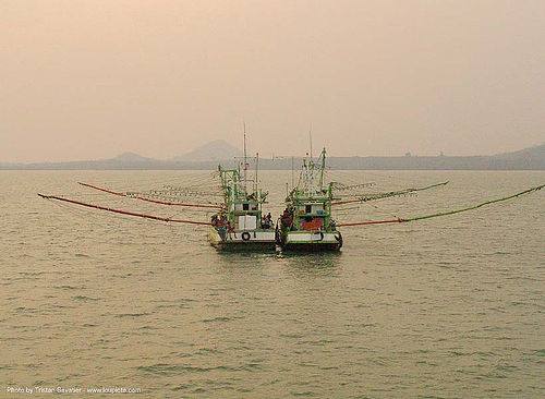 fishing trawlers - boats - thailand, fishing boats, ocean, poles, sea, ships, twins, ประเทศไทย
