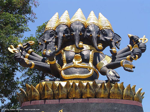 five-headed ganesha - thailand, elephant, five-headed ganesha, ganesh, hindu, hinduism, sculpture, thailand