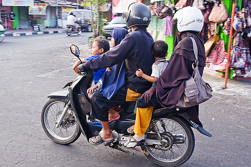 five on a motorbike (indonesia), children, five, helmets, java, jogja, jogjakarta, kids, man, motorbike, motorcycle helmet, rider, riding, street, underbone motorcycle, woman, yogyakarta