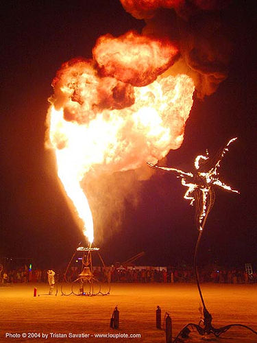 flame thrower - burning-man 2004, art, burn, burning man, fire, flame thrower, flames, flaming lotus girls, night