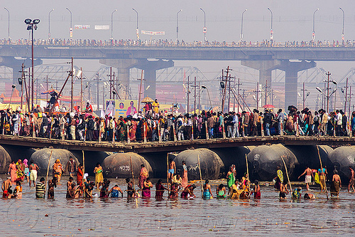 floating bridge over ganges river - kumbh mela (india), crowd, floating bridge, ganga river, ganges river, hindu, hinduism, holy bath, holy dip, infrastructure, kumbh maha snan, kumbha mela, maha kumbh mela, mauni amavasya, pontoon bridge, river bath, river bathing, water