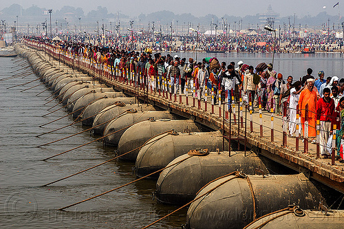 floating bridge (pontoon bridge) - kumbh mela (india), crowd, floating bridge, foot bridge, ganga, ganges river, hindu pilgrimage, hinduism, india, maha kumbh mela, metal tanks, pontoon bridge, walking