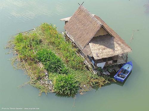 แพ - floating house and garden - สังขละบุรี - sangklaburi  (thailand), boat, floating garden, floating house, infrastructure, river, sangklaburi, water, wooden, ประเทศไทย, สังขละบุรี, แพ