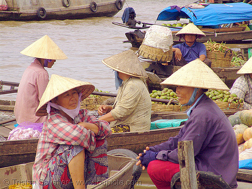 floating market on the mekong river - vietnam, boats, floating market, mekong river