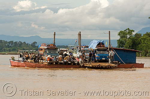 floating traffic jam? no, just a mekong river ferry (laos), ferry boat, laos, mekong, minibus, river crossing, river ferry, songthaews