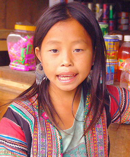 flower hmong girl - vietnam, child, colorful, flower h'mong tribe, flower hmong, hill tribes, indigenous, kid, little girl, vietnam