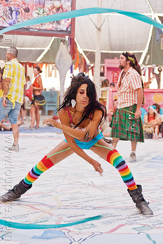 flowing ribbon artist - mumu, blue ribbon, burning man, center camp, people, performance, rainbow colors, rainbow stockings, rainbow tights, woman
