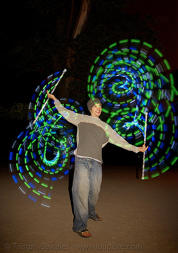 flowstaffs - elias spinning LED staffs (san francisco), double staff, fire dancer, fire dancing, fire performer, fire spinning, flowlights, flowtoys, glowing, led lights, light staffs, long exposure, night, people, spinning fire, staves