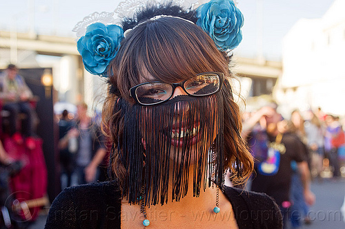 fly fringes carnival mask, black mask, blue flowers, burning man decompression, carnival mask, earrings, eyeglasses, eyewear, fashion, flower headdress, fly fringes, fringe veil, fringes veil, sarah, spectacles, woman