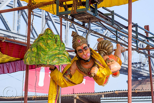 flying hanuman - hindu god sculpture, ashram, club, deities, flying, gadhai, gods, hanuman, hare krishna, hindu pilgrimage, hinduism, india, iskcon, kitch, maha kumbh mela, mountain, sculptures, statues
