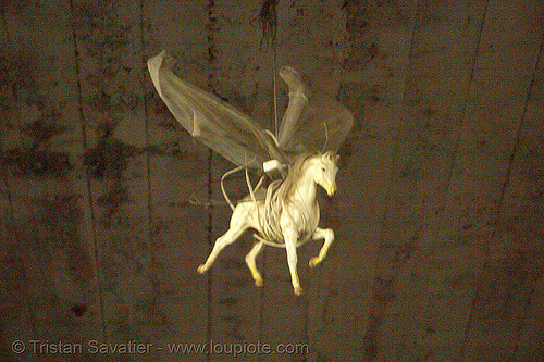 flying pegasus in abandoned factory (san francisco), derelict, flying horse, hanging, pegasus, sculpture, street art, tie's warehouse, trespassing