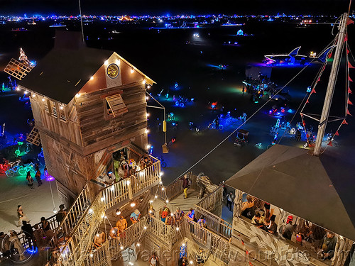 the folly at night - burning man 2019, art installation, building, burning man, construction, night, the folly