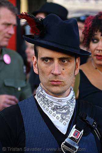 folsom street fair 2007 (san francisco), dark, fashion, fedora hat, man, stranger