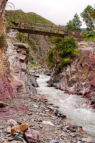foot bridge over river narrow, bridge, footbridge, iruya, mountains, noroeste argentino, quebrada de humahuaca, river bed, san isidro, trail, trekking, valley, water