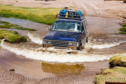 fording a river with a 4x4 truck, 4x4, all-terrain, alota, bolivia, car, expedition, fording, landcruiser, river crossing, roof rack, touring, toyota