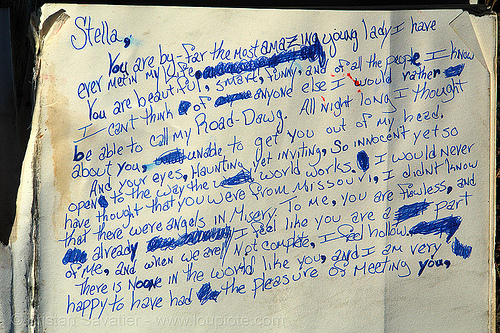 found love letter - stella, my road-dawg, found love letter, keith, lands end, lost, missouri, point lobos, road dawg, stella