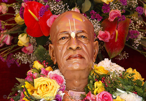 founder of the international society for krishna consciousness (ISKCON) - hare krishna - bhaktivedanta swami prabhupada, a. c. bhaktivedanta swami prabhupada, abhay, charan, chariot festival, festival of chariots, festival of india, flowers, hare krishna festival, hindu, hinduism, iskcon, statue, tilak, vaisnava