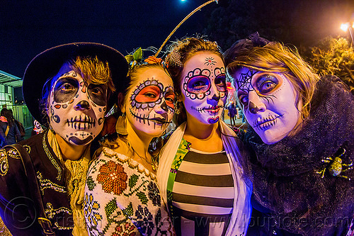 four girls with sugar skull makeup - dia de los muertos (san francisco), day of the dead, dia de los muertos, face painting, facepaint, halloween, night, sugar skull makeup, women