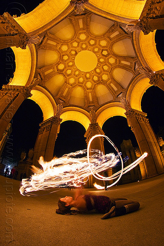 frankey lying on her back - spinning fire hoop - fire dancer at the palace of fine arts, arches, dome, fire dancer, fire dancing, fire hoop, fire performer, fire spinning, flames, frankey, long exposure, night, palace of fine arts, vaults, woman