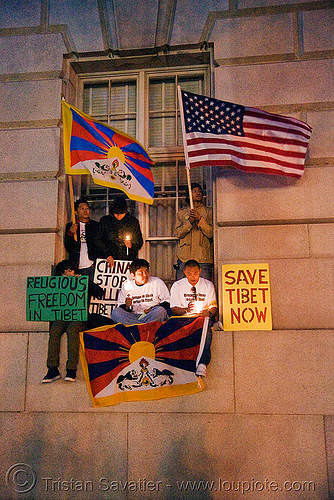 free tibet / anti-china protests (san francisco), anti-china, candle lights for human rights, cia, flags, free tibet, propaganda, protests, rally, signs, tibetan independence