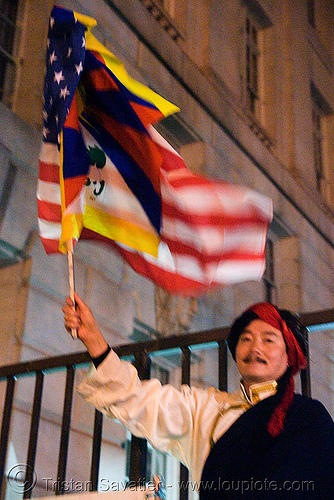 free tibet / anti-china protests (san francisco), anti-china, candle lights for human rights, cia, flags, free tibet, man, propaganda, protests, rally, tibetan independence, usa
