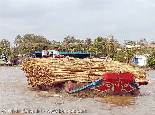freight boat on the mekong river - vietnam, boat, freight, heavy, loaded, mekong, river, vietnam