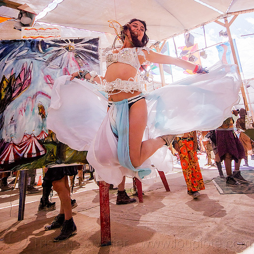french burner smoothie - burning man 2015, burning man, flo flo, jump, jumpshot, woman