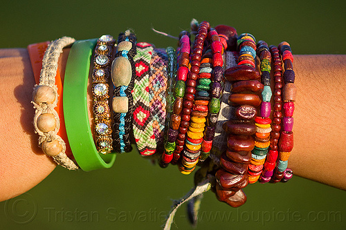 friendship bands and bracelets, arm, close-up, colorful, fashion, friendship bands, friendship bracelets, hippie bracelets, jewelry, rubber band, rubber bracelet, seeds, woman, wooden beads, wrist