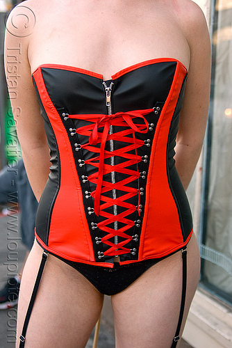 front lace corset - red and black, black, corset, fashion, folsom street fair, garment, lace, lingerie, red, woman, zipper