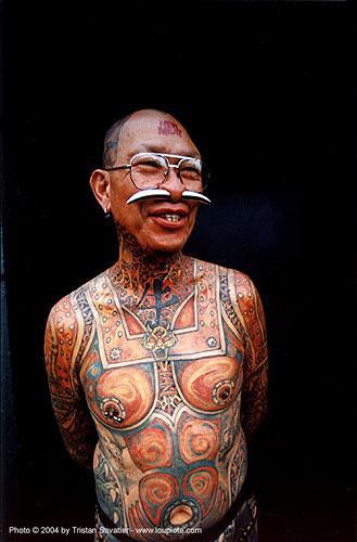 full body tattoos, art, david gee, gauged nose, gauged septum, man, nose piercing, people, septum piercing, skin, tattooed