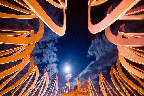 full moon over the temple - burning man 2009, burning man, fire of fires, full moon, long exposure, temple