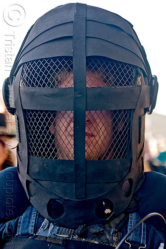full protection helmet with grid, black, burning man decompression, grid, mask, protection