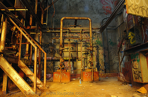 furnace room - abandoned factory (san francisco), abandoned factory, derelict, graffiti, industrial, metal stairs, rusted pipes, rusty, tags, tie's warehouse, trespassing