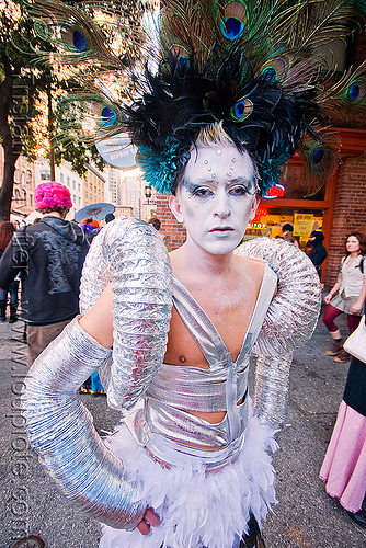 futuristic fashion - aluminium tubes - peacock feathers headdress, aluminium tubes, costume, face painting, facepaint, futuristic, hat, headdress, how weird festival, joe escobedo, makeup, man, peacock feathers, white