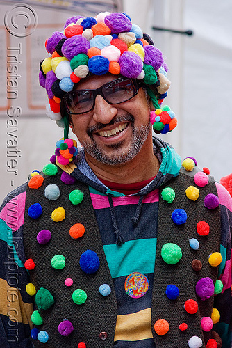 fuzzy balls - colors, fur balls, fuzzy balls, hat, how weird festival, man, richie, sunglasses