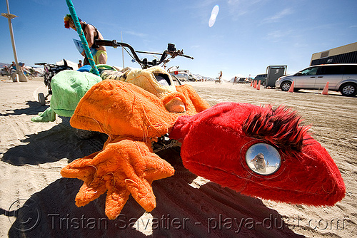 fuzzy gecko - burning man 2008, burning man, colored, fuzzy, gecko, mutant vehicles, unidentified art car