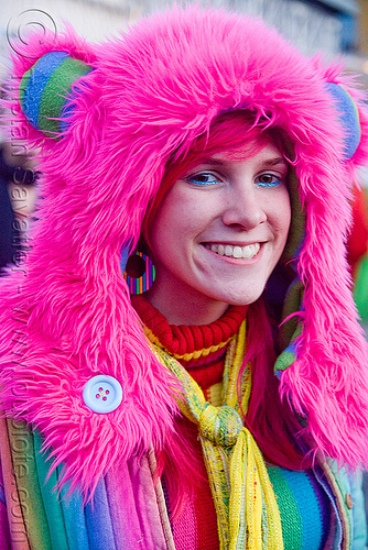fuzzy hood - kandi raver - neon pink, burning man decompression, clothing, fashion, fuzzy hat, kandi kid, kandi raver, neon pink, plur, woman