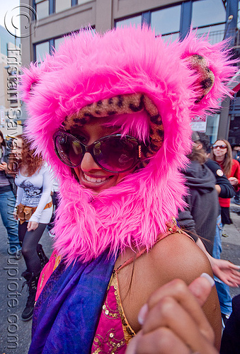 fuzzy hood - pink, fluffy, fuzzy, hat, hood, how weird festival, people, pink, woman