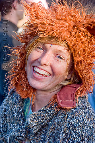 gabrielle with fuzzy hat, bluegrass, furry, fuzzy hat, golden gate park, hardly, strictly, woman