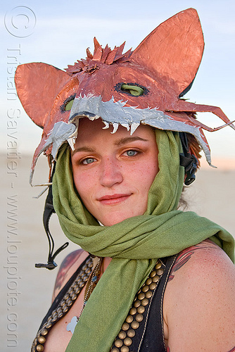 gabrielle with her fox head mask, burning man, copper, costume, ears, fox, head, mask, scarf, woman
