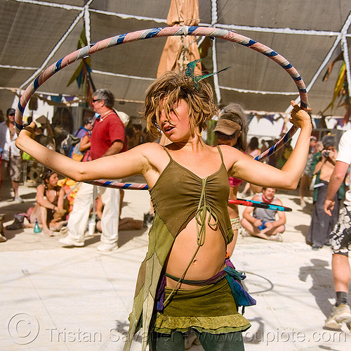 gabrielle with hula hoop - burning man 2009, burning man, hula hoop, hula hooper, hula hooping, woman