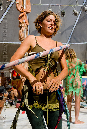 gabrielle with hula hoop - burning man 2009, burning man, gabrielle, hula hoop, hula hooper, hula hooping, woman