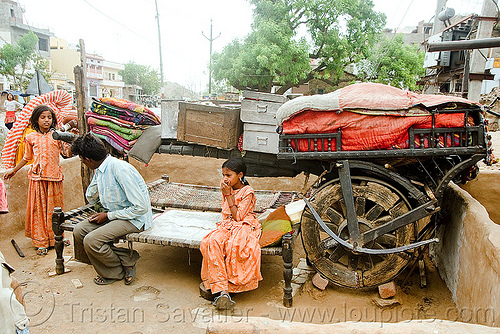gadia lohars nomadic tribe camp and oxcart (india), bullock cart, camp, chariot, encampment, gadia lohars, gaduliya lohars, gipsies, gypsies, horse cart, india, nomadic tribe, nomads, ox cart, road, thiya