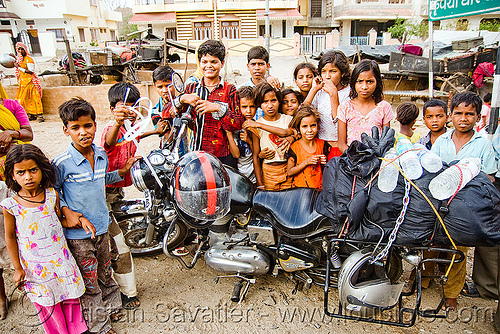 "gaduliya lohars nomadic tribe kids around my ""royal enfield"" bullet 350cc motorcycle (india), 350cc, child, gadia lohars, gaduliya lohars, gipsies, gypsies, kid, motorbike touring, motorcycle touring, nomadic tribe, nomads, road, royal enfield bullet, udaipur"