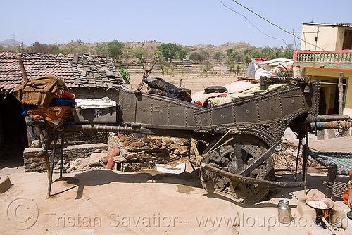 gaduliya lohars nomadic tribe camp - oxcart - near udaipur (india), bullock cart, encampment, gadia lohars, gaduliya lohars, nomadic tribe, nomads, ox cart, thiya, udaipur