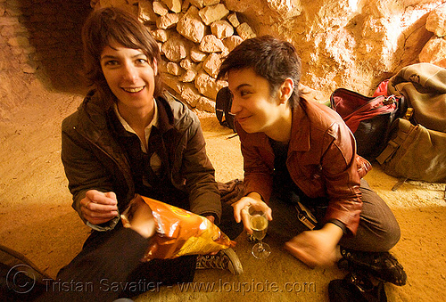 gaëlle and alyssa - catacombes de paris - catacombs of paris (off-limit area), alyssa, androgynous, candles, catacombs of paris, cataphile, cave, couple, gaëlle, girls, new year's eve 2008, underground quarry, women