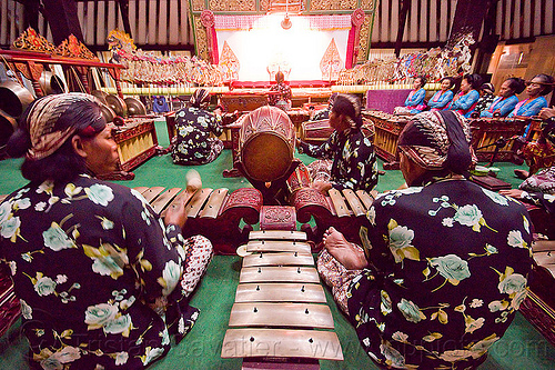 gamelan ensemble, gamelan ensemble, gongs, java, jogja, jogjakarta, karawitan, kendang drum, men, metallophones, music, musical, orchestra, people, percussion, players, shadow play, shadow puppet theatre, shadow puppetry, shadow puppets, shadow theatre, sitting, wayang kulit, xylophones, yogyakarta