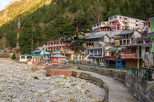 gangotri ghats - bhagirathi river (india), bhagirathi river, bhagirathi valley, gangotri, ghats, hindu pilgrimage, hinduism, india, mountains, river bed